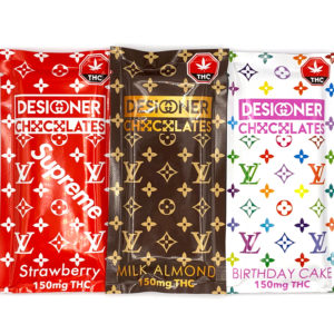 Designer THC Chocolates - 150mg Edible Packs displayed in front of a white background