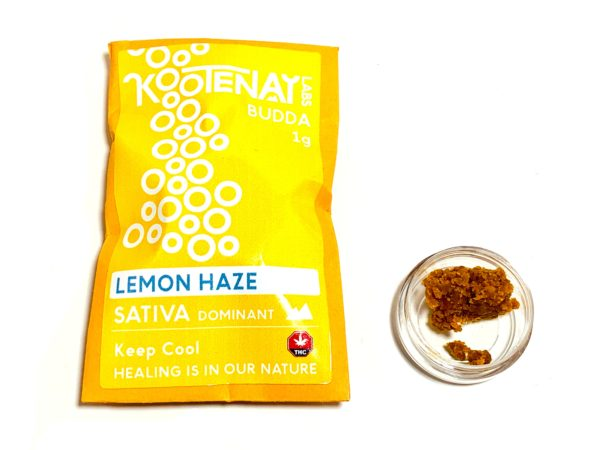 Kootenay Labs - Lemon Haze Budder / Wax packets displayed on Phatnug Canada Online Weed Dispensary