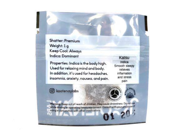 Kootenay Labs - Katsu Shatter packet displayed on Phatnug Canada Online Weed Dispensary