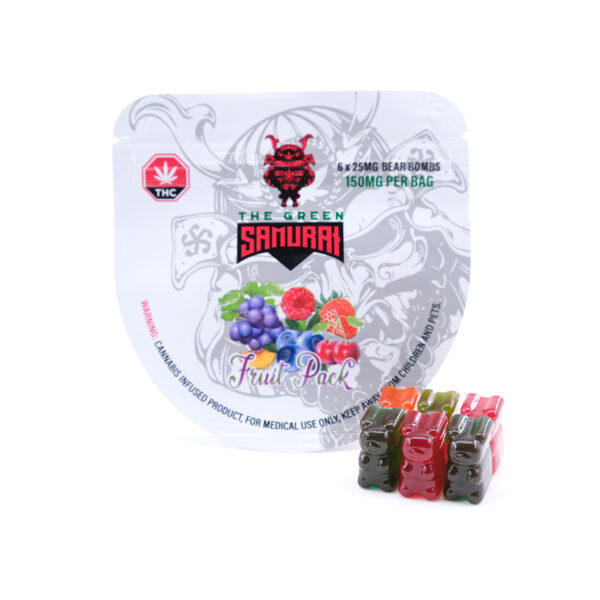 The Green Samurai Bear Bombs - Fruit Pack - Gummy Bear Edibles - 150mg THC