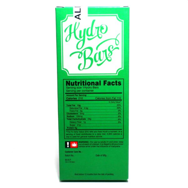 Hydro Bars THC Chocolate Bar - 500mg & 1000mg THC - Almond