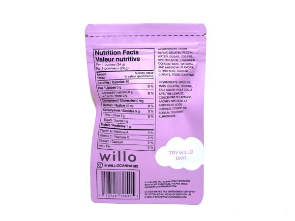 Willo Cannabis Gummies - Lullaby Lavender - 200mg THC - Info